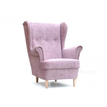 fotel uszak pudrowy róż
