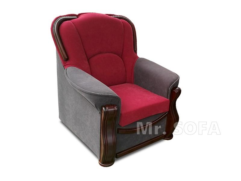 stylowy fotel z drewnem