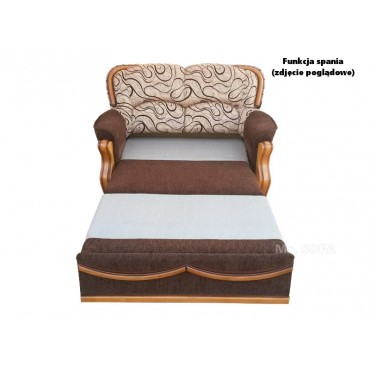 Stylowa sofa z drewnianymi...