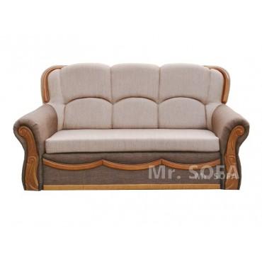 sofa z ozdobnym drewnem z funkcją spania