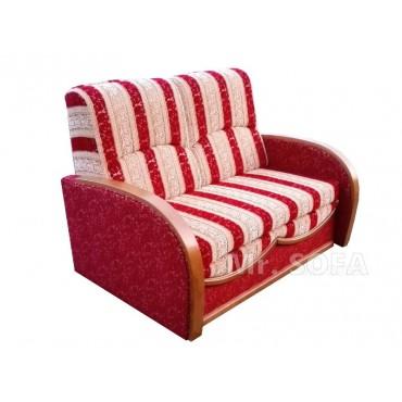 Wąska sofa rozkładana z drewnianymi bokami