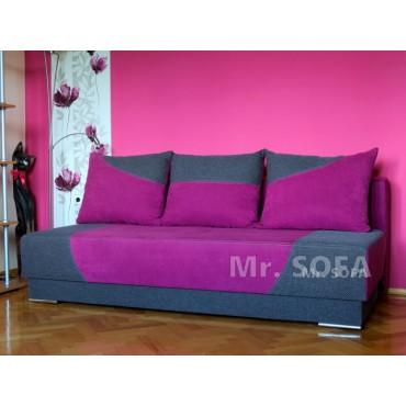 nieduża różowa kanapa bez boków