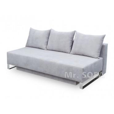 Nowoczesna kanapa rozkładana na srebrnych nogach