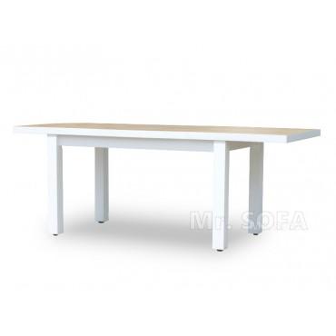 biały rozkładany stół z dwoma wkładkami
