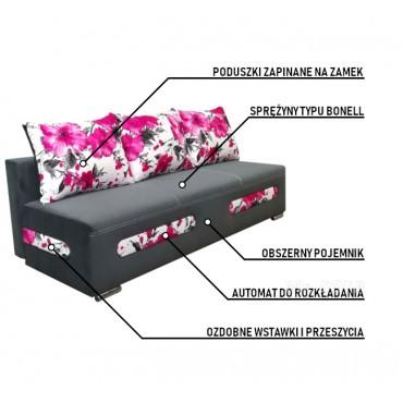 Rozkładana kanapa w kwiaty
