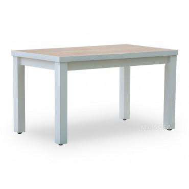Biały stół z blatem w drugim kolorze
