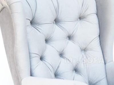 fotel uszak z pikowanym oparciem