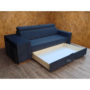 kanapa z regulowanymi zagłówkami z pojemnikiem