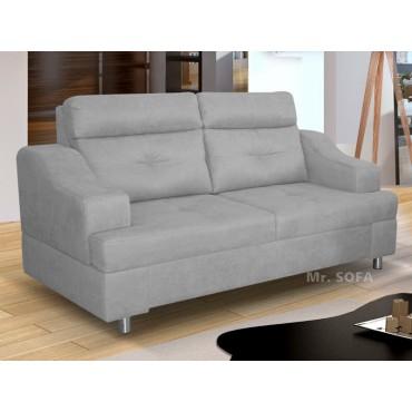 szara miękka sofa z wygodnym oparciem