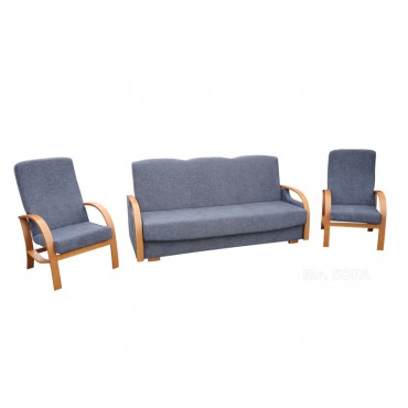 szara wersalka z fotelami