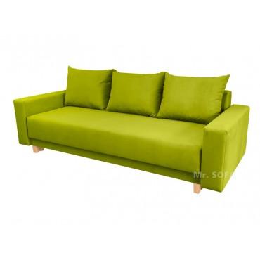 zielona kanapa na wysokich nóżkach